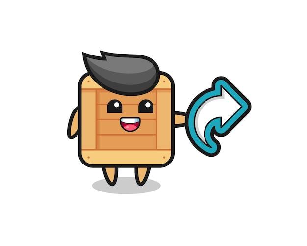 Leuke houten kist met symbool voor het delen van sociale media, schattig stijlontwerp voor t-shirt, sticker, logo-element