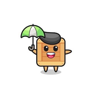 Leuke houten kistillustratie met een paraplu, schattig stijlontwerp voor t-shirt, sticker, logo-element