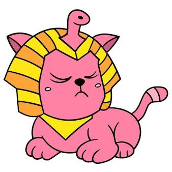 Leuke huisdierenkat die in egyptisch sfinxkostuum wordt verfraaid, vectorillustratieart. doodle pictogram afbeelding kawaii.