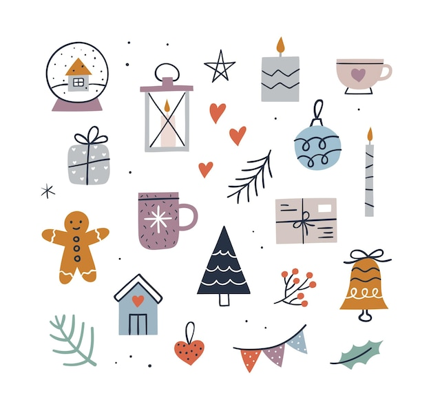 Leuke hygge-kerstset - mok, kaarsen, boom, cadeau, peperkoekman, sneeuwbol, klein huis, bel. hand getekend vectorillustratie. gezellige winter elementen collectie.