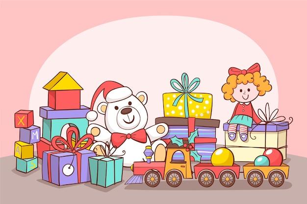 Leuke ijsbeer en pop met ingepakte geschenkdozen