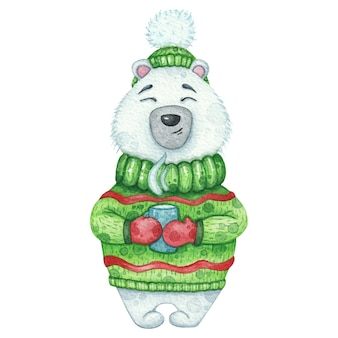 Leuke ijsbeer in groene trui en hoed met een kop warme drank. aquarel illustratie voor kerstmis