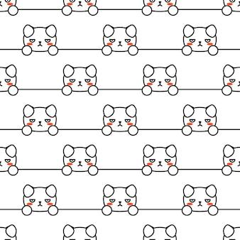 Leuke illustratie. creatief ontwerp. gezichtsbedekking. cartoon ontevreden hond naadloze patroon voor ontwerp voor een papieren. grappig stripfiguur. vector illustratie