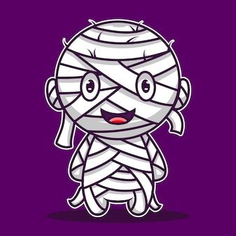 Leuke illustratie halloween mumi karakter icoon