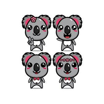 Leuke illustratie koala bundel set met karakter