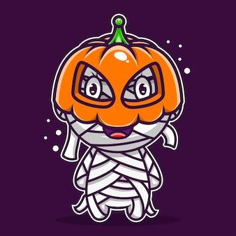 Leuke illustratie pompoen mumi karakter icoon