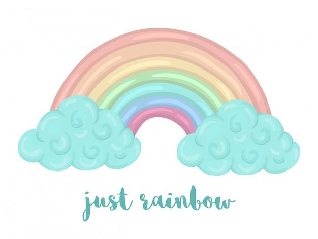 Leuke illustratie van aquarel stijl regenboog met wolken geïsoleerd op een witte achtergrond. eenhoorn thema afbeelding voor print, banner, kaart of textiel ontwerp.