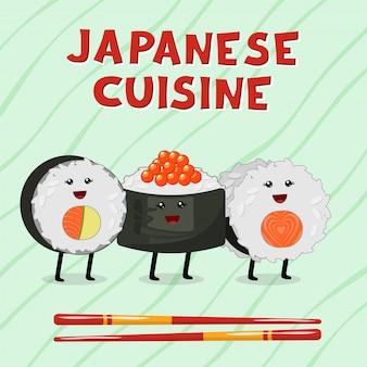 Leuke illustratie van de aziatische keuken. traditionele japanse kawaiibroodjes, sushi en sashimi.