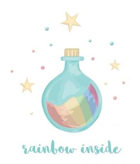 Leuke illustratie van de fles van de waterverfstijl met regenboogbinnenkant die op witte achtergrond wordt geïsoleerd. eenhoorn thema afbeelding voor print, banner, kaart of textiel ontwerp.