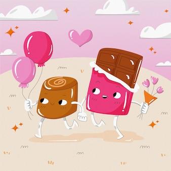 Leuke illustratie van een chocoladepaar