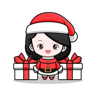 Leuke illustratie van het ontwerp van het kerstmanmeisje