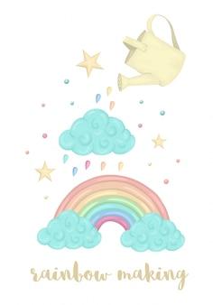 Leuke illustratie van het regenboogproces van de waterverfstijl met wolk, gieter, sterren die op witte achtergrond worden geïsoleerd. eenhoorn thema afbeelding voor print, banner, kaart of textiel ontwerp.