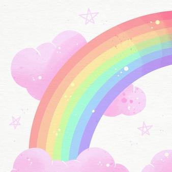 Leuke illustratie van levendige aquarel regenboog