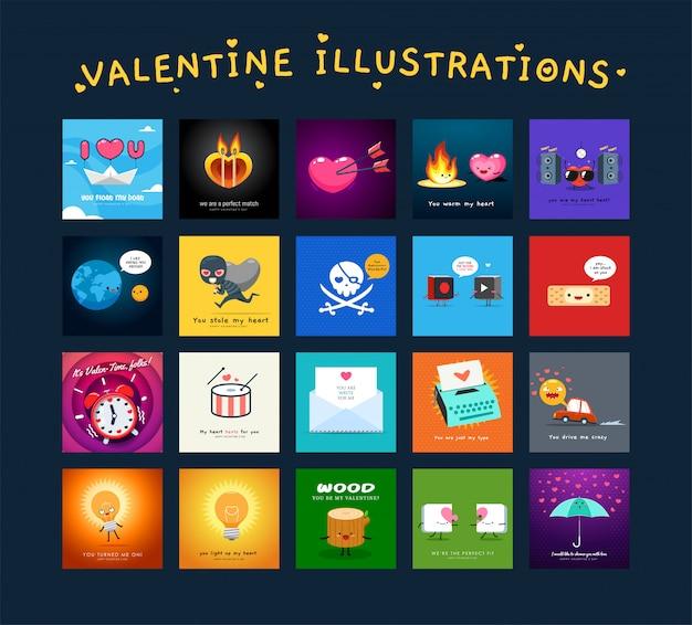 Leuke illustraties van valentijnskaart