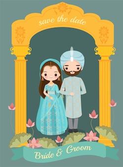 Leuke indiase bruid en bruidegom op bruiloft uitnodigingskaart
