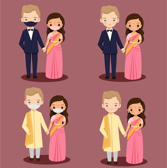 Leuke indiase bruid met buitenlandse bruidegom paar cartoon in traditionele kleding voor bruiloft