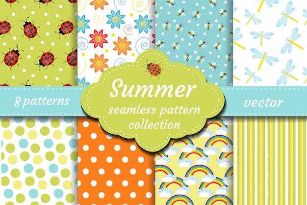 Leuke insecten naadloze patroon set. lentecollectie van lieveheersbeestje en abstracte herhalende texturen. zomer kids bee achtergrond, papier, behang. illustratie.