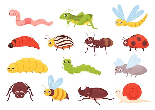 Leuke insecten set kleurrijke grappige insecten sprinkhaan libel worm spin vliegen lieveheersbeestje