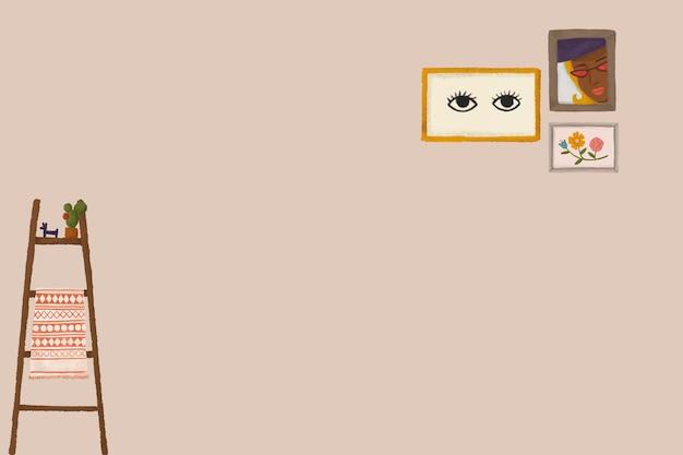 Leuke interieur beige achtergrond vector hand getekende illustratie