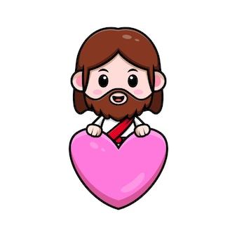Leuke jezus christus achter hart vector cartoon christelijke illustratie