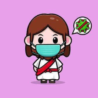 Leuke jezus christus die een masker draagt om het virus vector cartoon christelijke illustratie te voorkomen