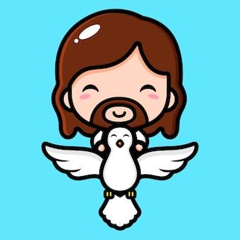 Leuke jezus christus die met een duif vliegt