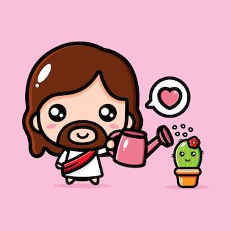 Leuke jezus christus die schattige cactus water geeft