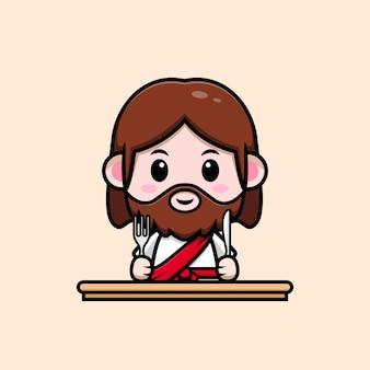 Leuke jezus christus klaar om vector cartoon christelijke illustratie te eten