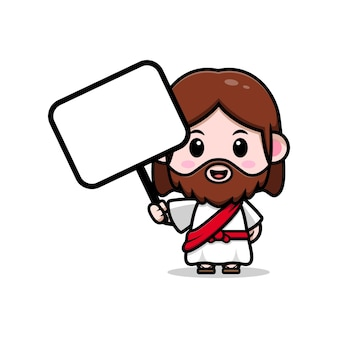 Leuke jezus christus met lege witte bord vector cartoon christelijke illustratie