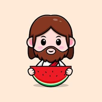 Leuke jezus christus met watermeloen vector cartoon christelijke illustratie