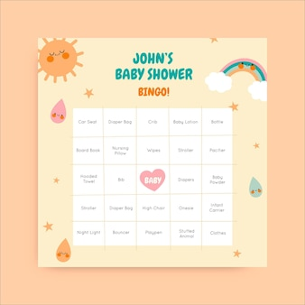 Leuke john baby shower bingo instagram post