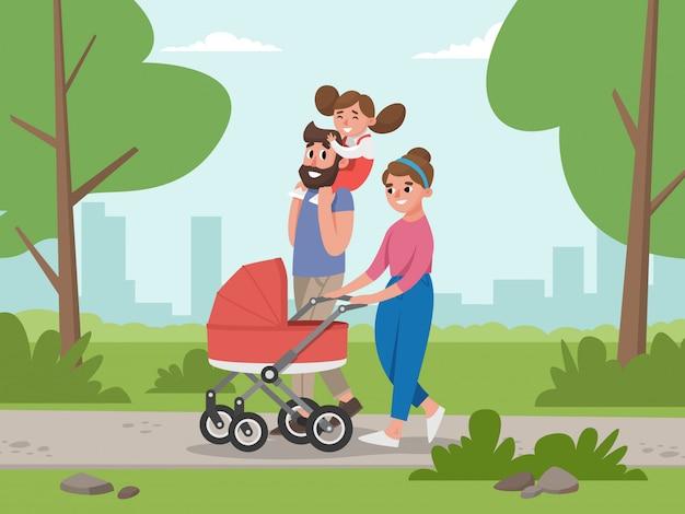 Leuke jonge familie voor wandeling.