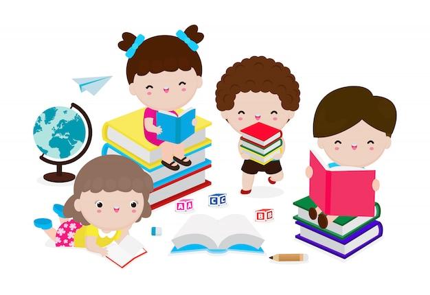 Leuke jonge geitjes die boek, reeks kinderen met boeken lezen, gelukkige kinderen terwijl het lezen van boeken, onderwijsconcept, illustratie op witte achtergrond.