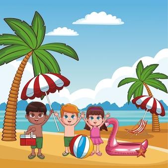Leuke jonge geitjes die pret hebben bij grafisch de illustratie grafisch ontwerp van strandbeeldverhalen