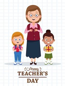 Leuke jonge lerarenvrouw met kleine studentenmeisjes