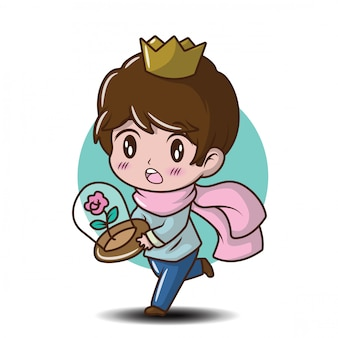 Leuke jonge prins cartoon afbeelding