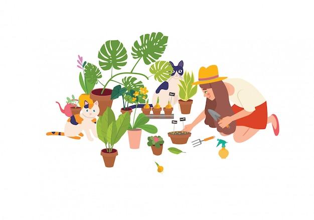 Leuke jonge vrouw die met tuinschop kamerplanten behandelt die in potten of plantenbakken groeien. stedelijke jungle interieur, lente.