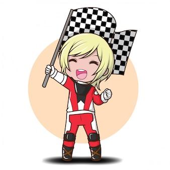 Leuke jongen cartoon in racer kostuum.