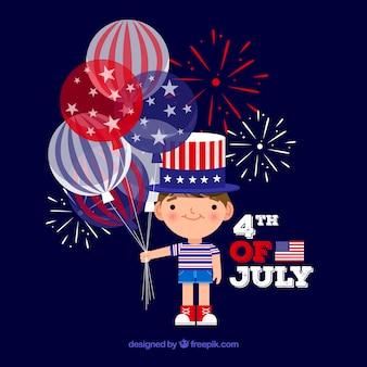 Leuke jongen die amerikaanse onafhankelijkheidsdag viert