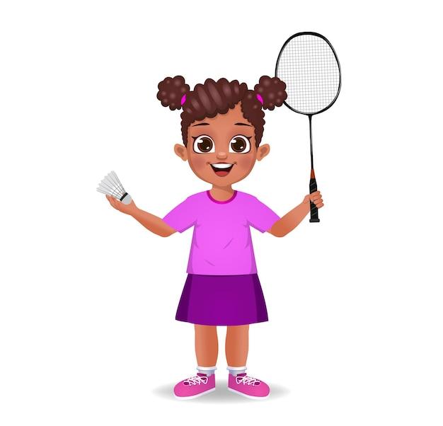 Leuke jongen die badminton speelt
