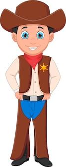 Leuke jongen die cowboykostuum draagt