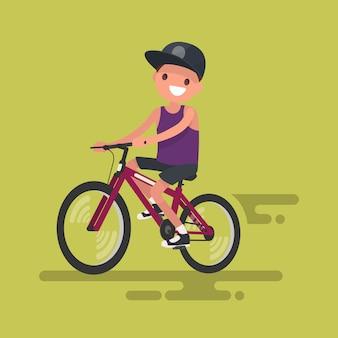 Leuke jongen die een fietsillustratie berijdt