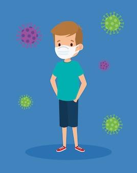 Leuke jongen die gezichtsmasker met deeltjes covid 19 illustratieontwerp gebruikt