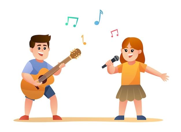 Leuke jongen die gitaar speelt en meisje dat tekenfilm zingt