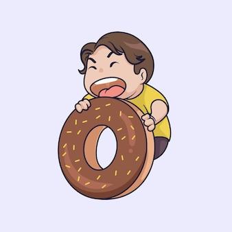 Leuke jongen die grote donutillustratie eet