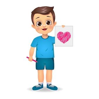 Leuke jongen die hart getrokken document houdt