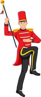 Leuke jongen die het kostuum van de marcherende bandleider draagt
