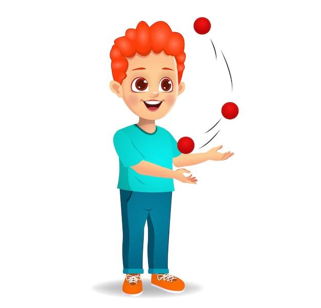 Leuke jongen die jongleert