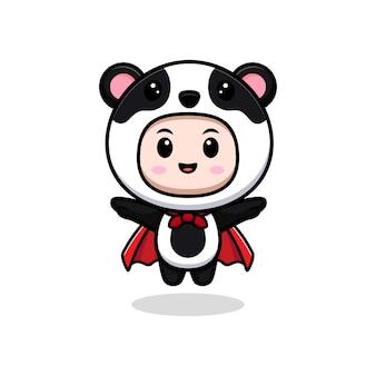 Leuke jongen die pandakostuum en robe drijvend draagt. dierlijke kostuum karakter vlakke afbeelding