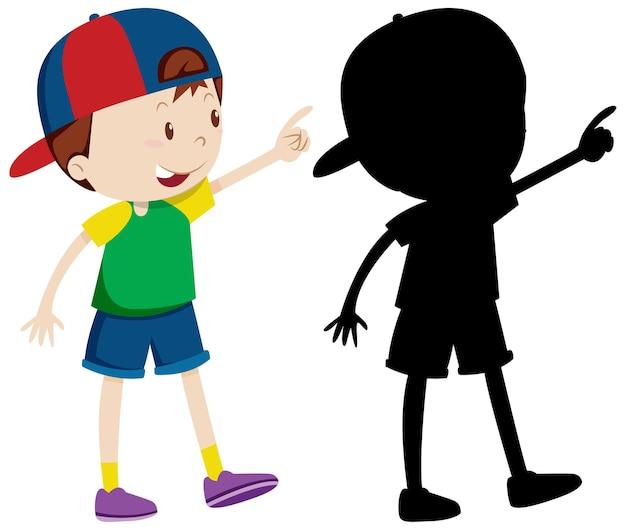 Leuke jongen die pet in kleur en silhouet draagt